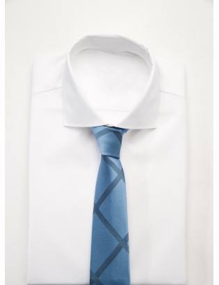 Handmade tie made of pure silk woven, striped, blue grey