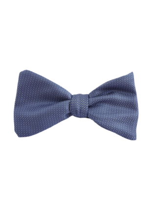 Textured silk bow tie blue