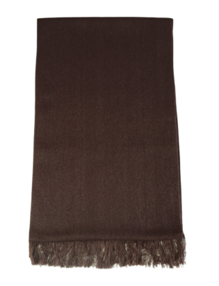Hand-woven luxury scarf in cashmere and silk, brown